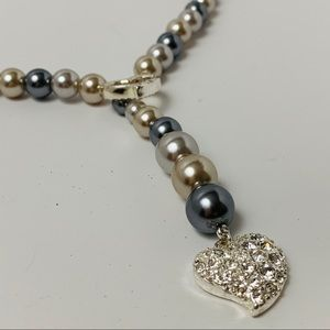 Faux Pearl Heart Detail Lariat Necklace Rhinestone